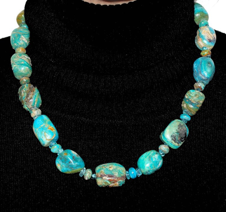Natural Peruvian Blue Opal Rock Necklace With Silver Tone Clasp