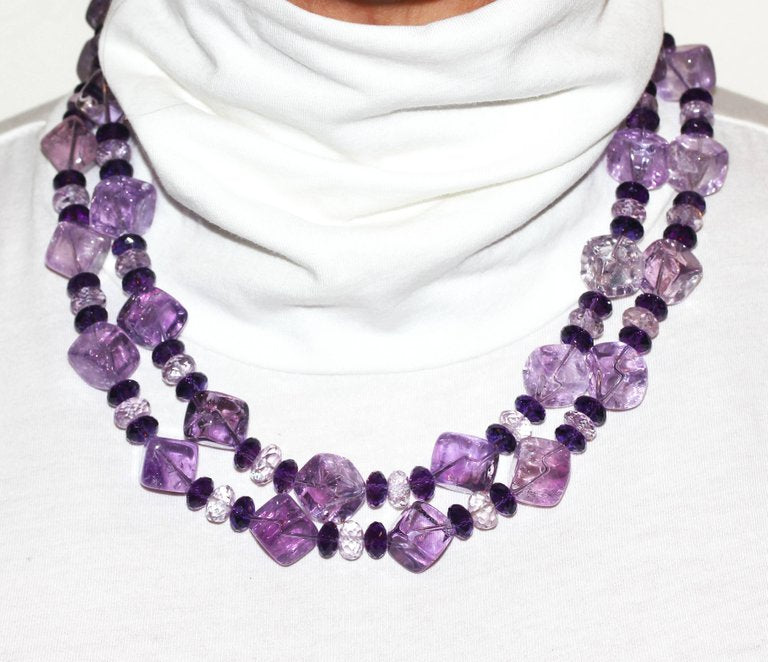 Glittering Amethysts and Rose of France Necklace