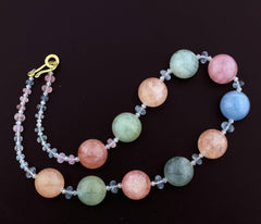 Multi-Color Natural Beryl Vermeil Clasp Necklace