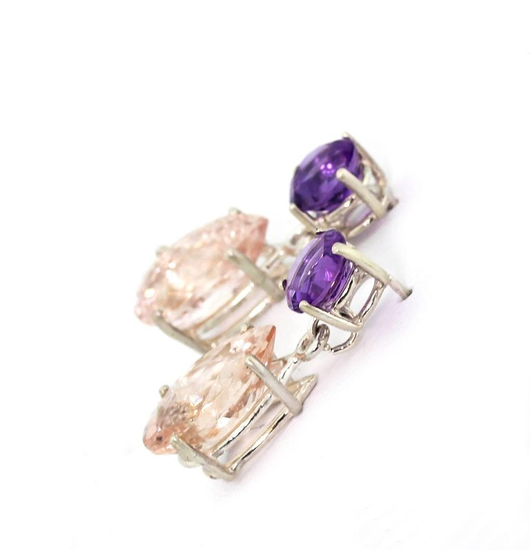 Amethyst & Morganite Sterling Silver Stud Earrings