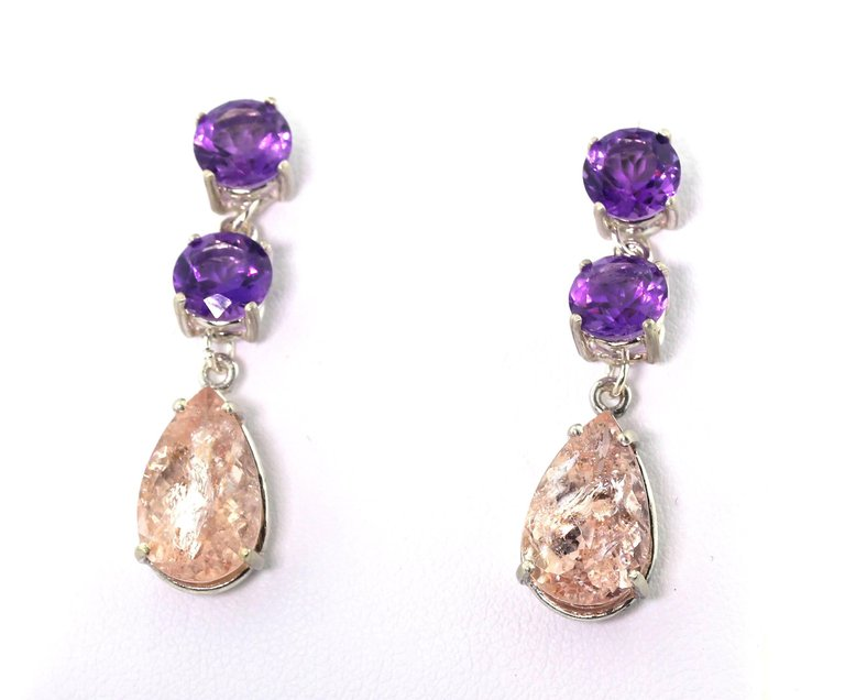 Amethyst and Morganite Sterling Silver Stud Earrings