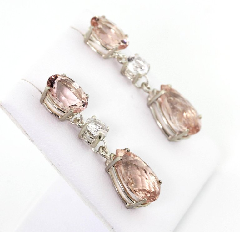 Morganite and White Sapphire Silver Stud Earrings
