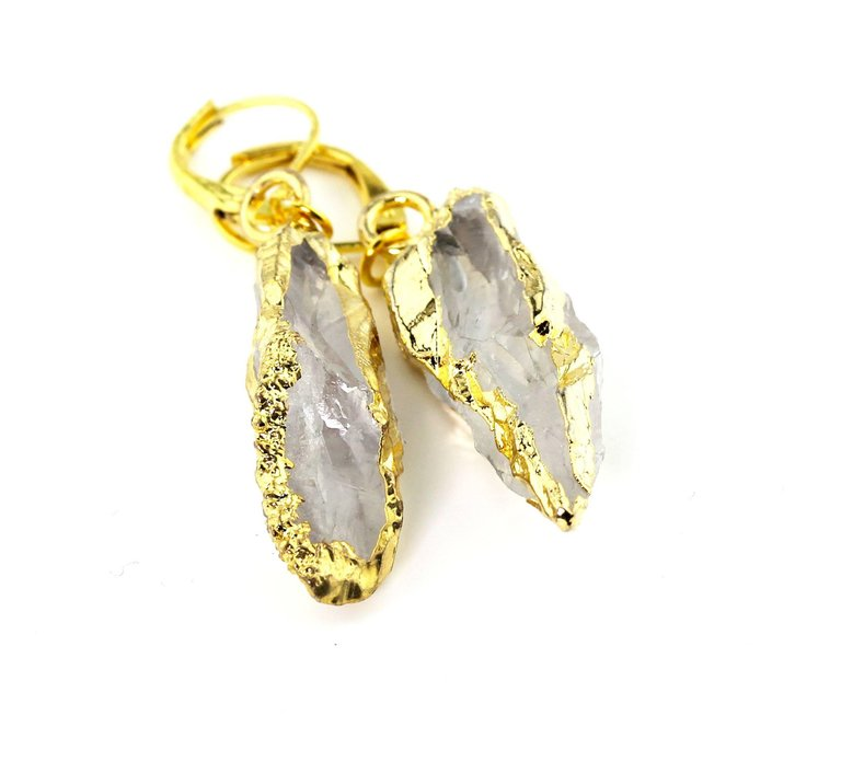 Quartz Dangling Gold Plated Lever-back Earrings
