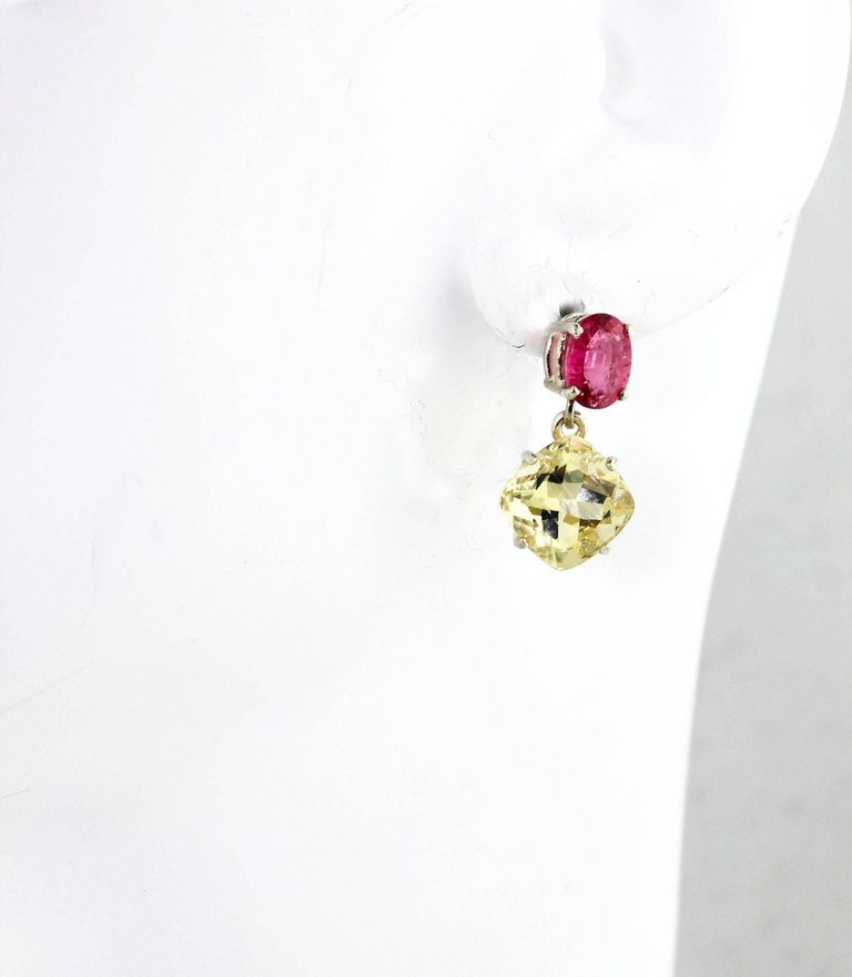 Pink Tourmaline and Yellow Labradorite Sterling Silver Dangle Earrings