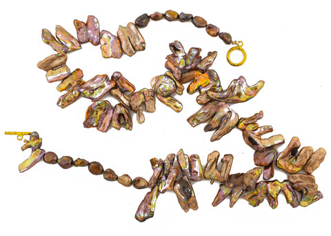 Copper Pearl Leaves Necklace
