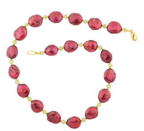 Brilliant Wine Red Oval Pearls and Peridot Necklace