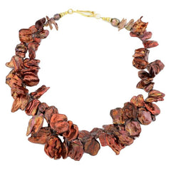 Coppery Red/Goldy Radiant Keshi Pearl Necklace