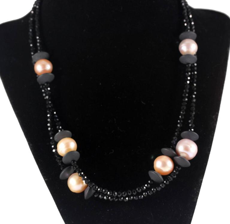South Sea Pearls Black Spinels Necklace