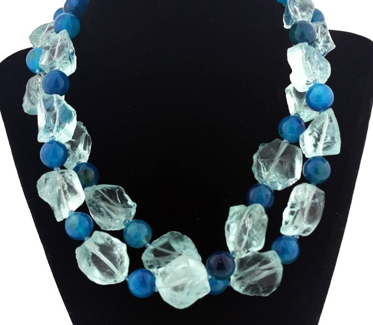 Aquamarine and Apatite Color Agate Necklace