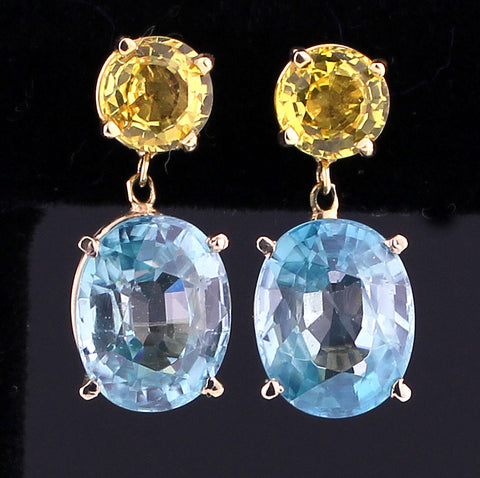 Zircons, Yellow Sapphires & Gold Earrings