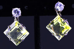 Lemon Quartz, Zircon & Silver Earrings