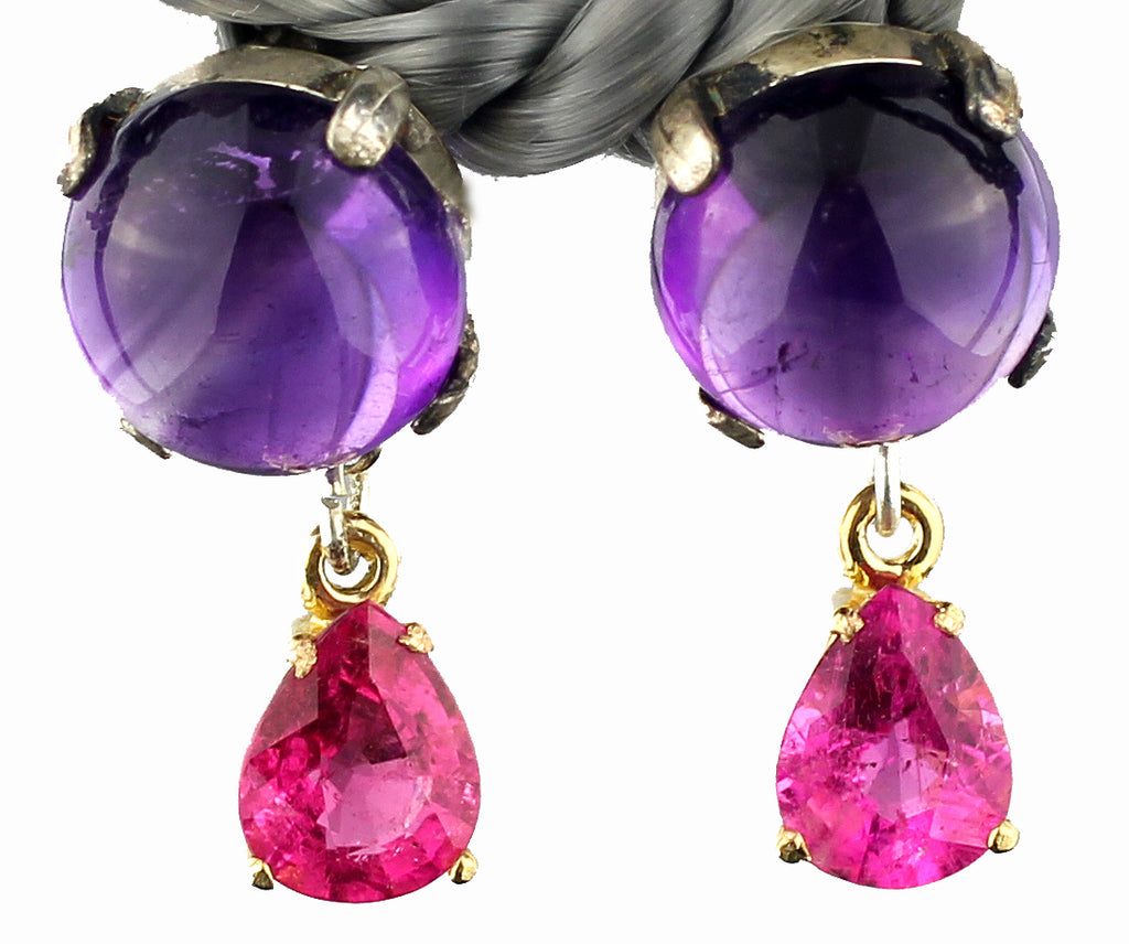 Amethyst & Pink Tourmaline Earrings