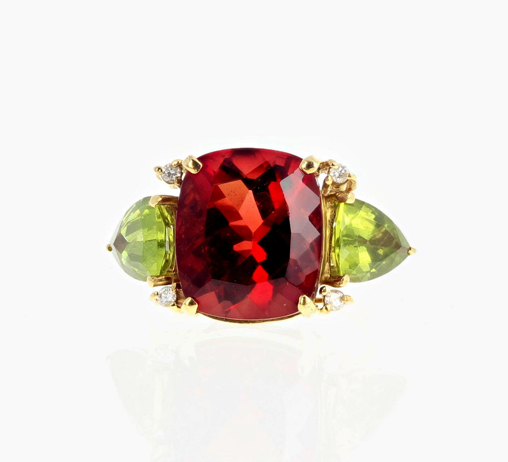 Andecine Labradorite, Peridot and Diamond 18K Yellow Gold Ring