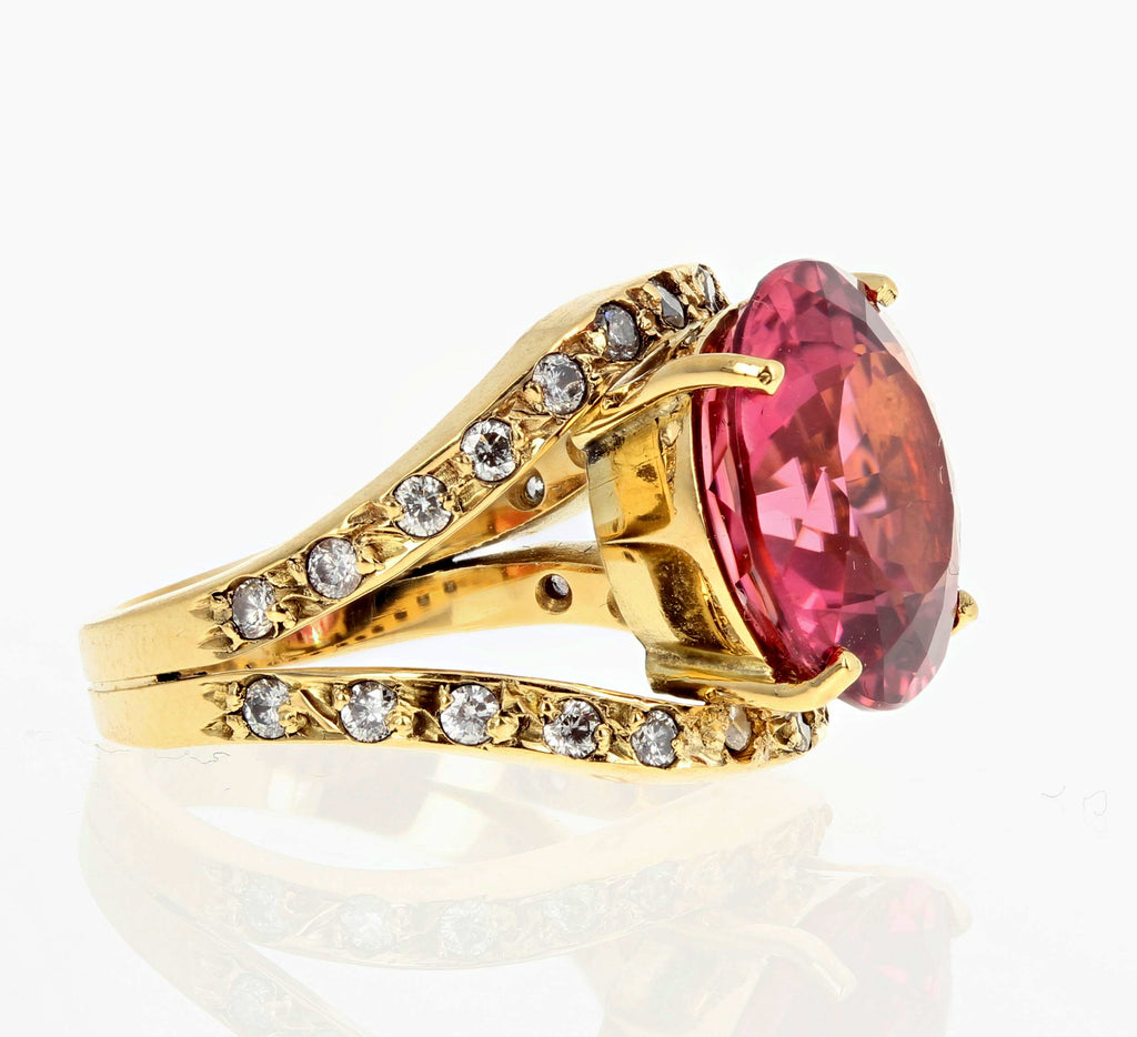Tourmaline and Diamond 18K Yellow Gold Ring
