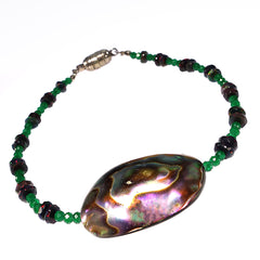 Bracelet of Paua Shell, Black Opal, and Green Quartz