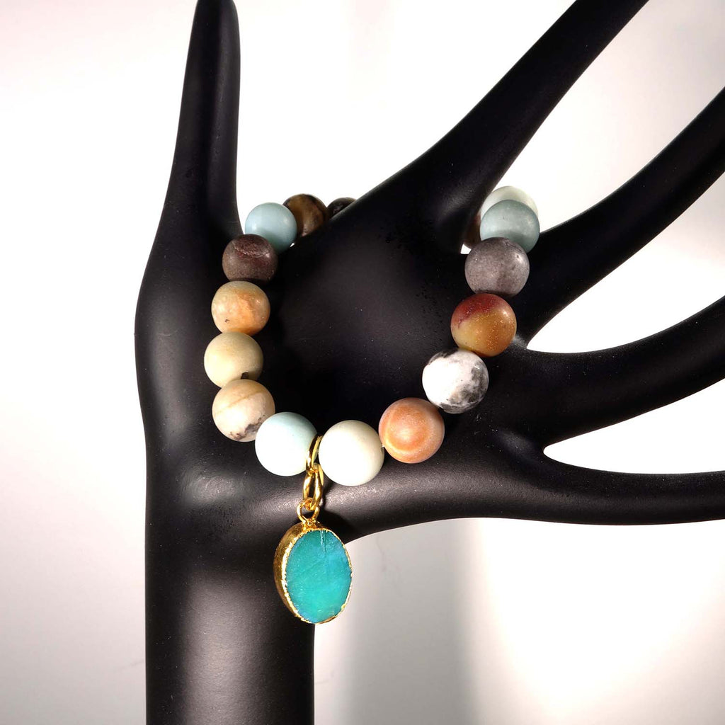 Gemjunky  Multi Color frosted matte Amazonite Elastic Bracelet with Druzy Dangle