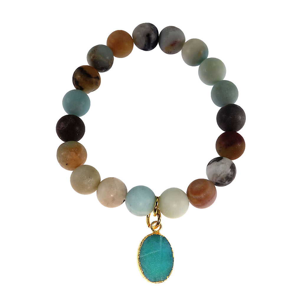 Multi Color frosted matte Amazonite Elastic Bracelet with Druzy Dangle