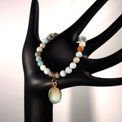 Gemjunky  6 MM Multi color frosted matte Amazonite elastic bracelet with Druzy dangle