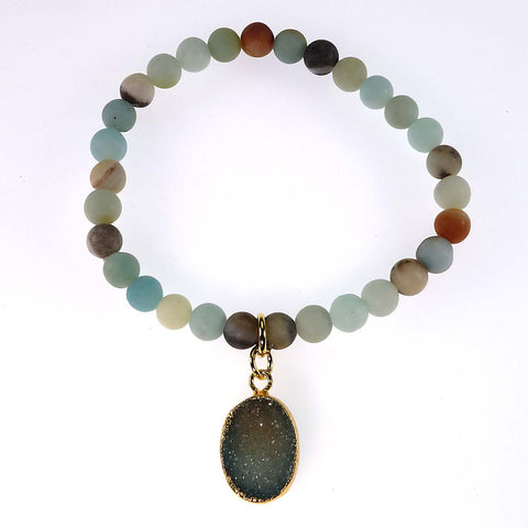 6MM Multi color frosted matte Amazonite elastic bracelet with Druzy dangle