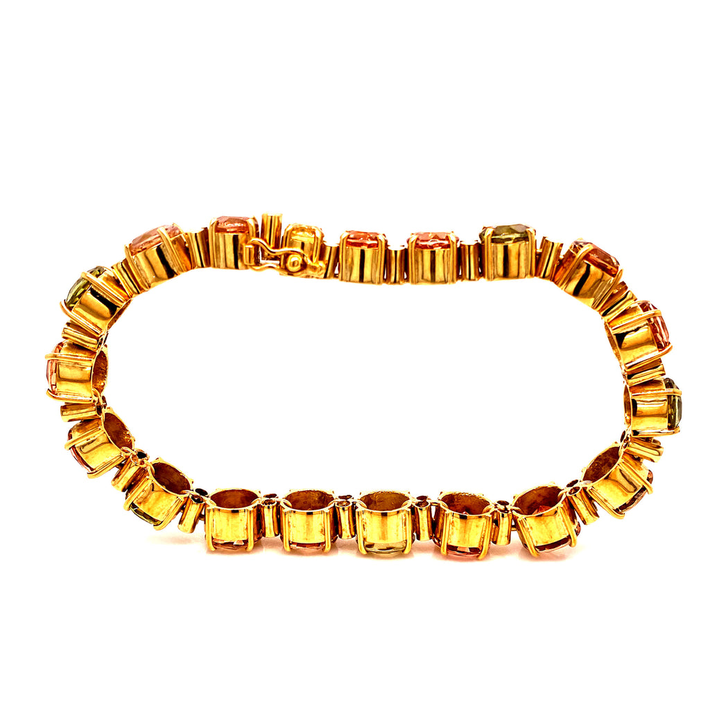 Gemjunky Multi Color Tourmaline and 18K Yellow Gold Bracelet