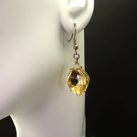Gemjunky  Unique Fancy Cut Golden Citrine Earrings in 14K Yellow Gold