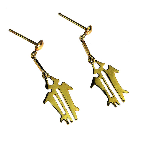 Gemjunky  Yellow Gold NAZCA Lines Earrings