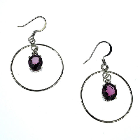 Sterling Silver Dangling Earrings with Purple Spinels