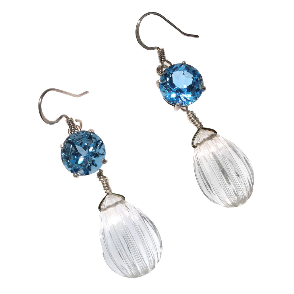 Bright Blue Topaz Earrings