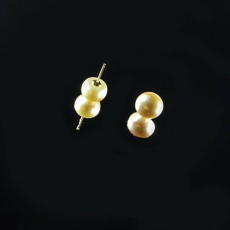 Pearl Stud Earrings with 14K Posts