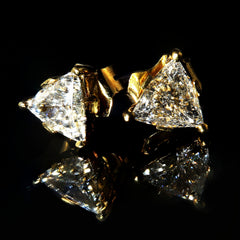 Gemjunky 1.25 Carat Glittering Trillion Diamond Stud Earrings