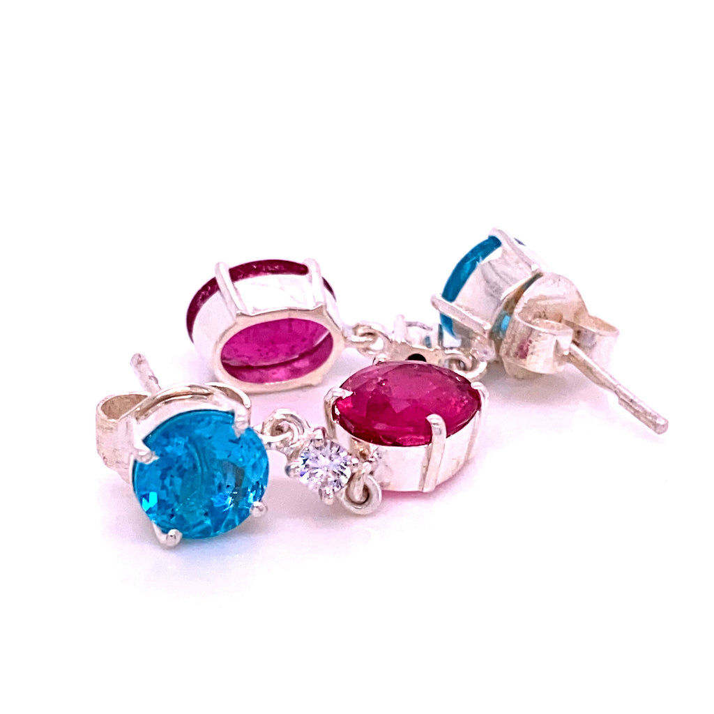 Sizzling Summer Pink and Blue/Green Swinging Earrings