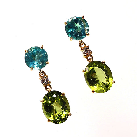 Gemjunky radiant Peridot and Apatite Dangle earrings