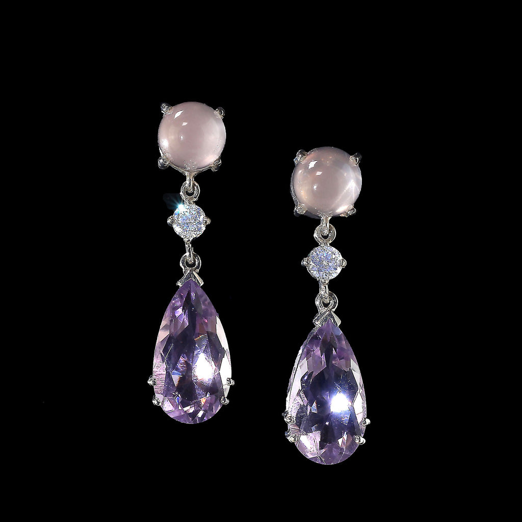 Elegant, Pink and Purple Gemjunky Earrings