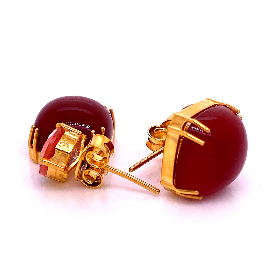 Sophisticated, Stylish Gemjunky Earrings of Carnelian and Sunstone