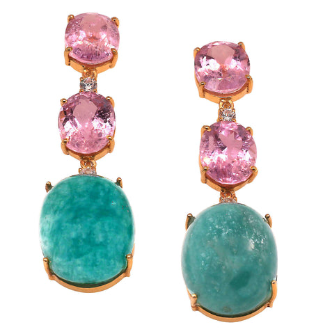 Elegant, Evening Earrings of Kunzite and Amazonite from Gemjunky