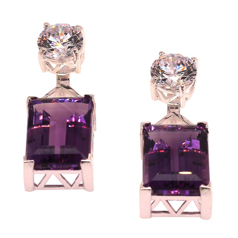 Elegant Gemjunky Amethyst and Cambodian Zircon Earrings