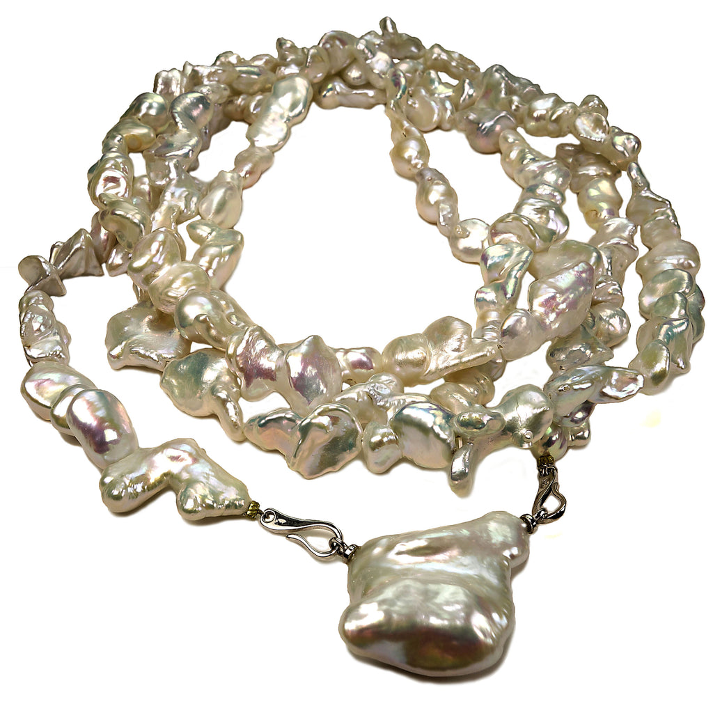 62 Inch  Iridescent White Baroque Pearls Necklace