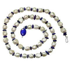 Pearl Necklace with Lapis Lazuli Disc Spacers