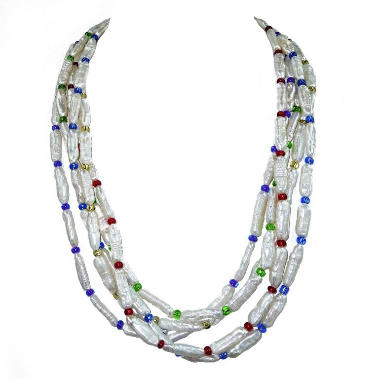 Five Strand Pearl and Czech bead Necklace