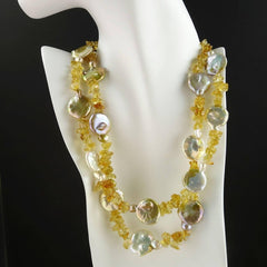Gemjunky Two strand Coin Pearl and Citrine Necklace