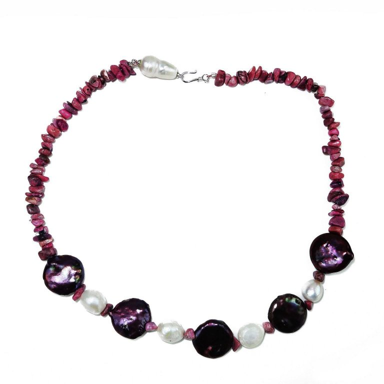 Necklace of Mauve Coin Pearl, Pearl, and Rhodonite Chips