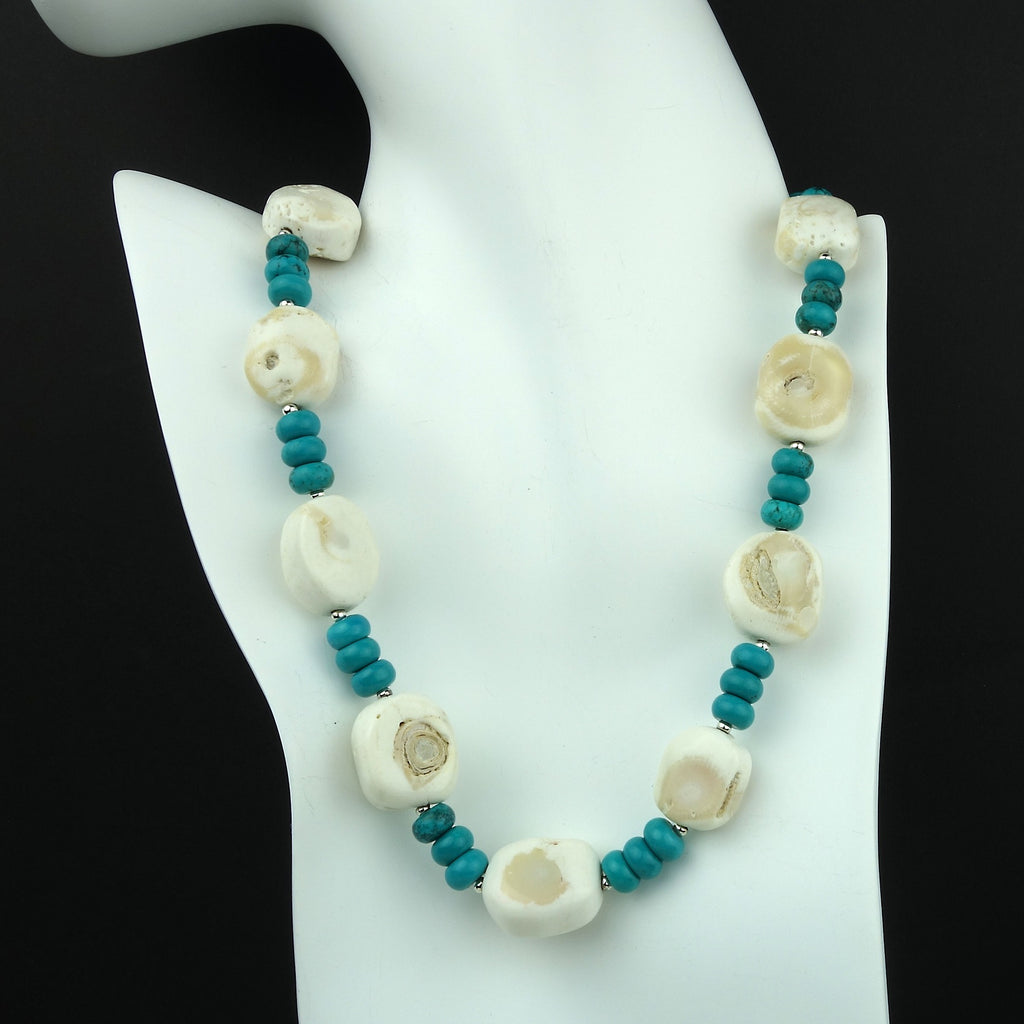 Gemjunky  Perfect Summer White Coral and Turquoise Rondelle Necklace