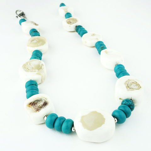 White Coral and Turquoise Rondel Necklace