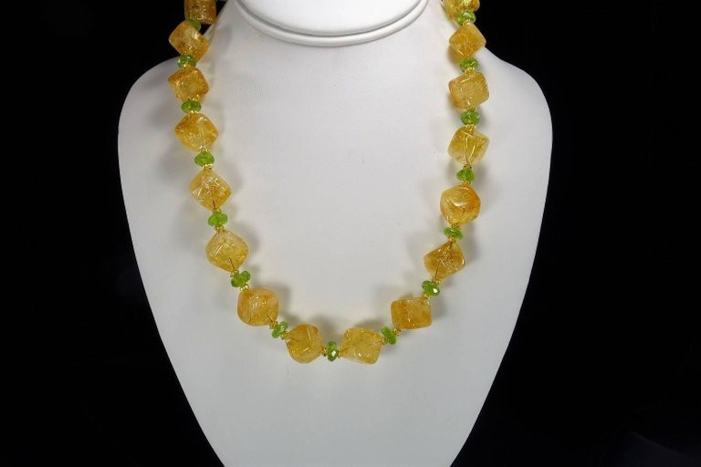 Gemjunky Necklace of Citrine Cubes and Peridot Rondelles