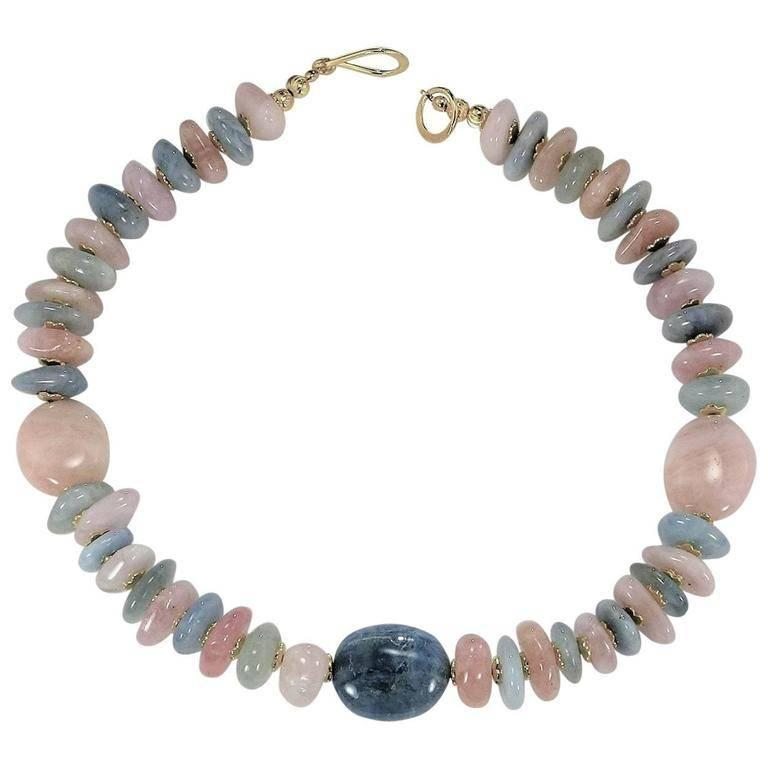 Gemjunky  Polished Nuggets of Pink and Blue Beryl Necklace
