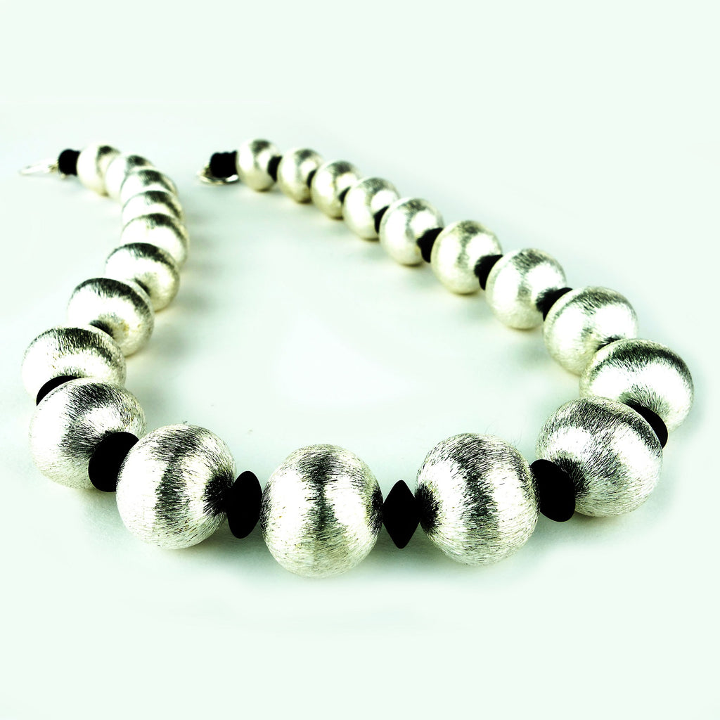 Gemjunky  Silver Tone beads and Black Onyx Rondelles Necklace