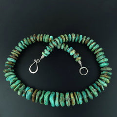 Gemjunky Graduated Natural Turquoise Rondelle Necklace