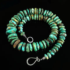 Graduated Natural Turquoise Rondel Necklace