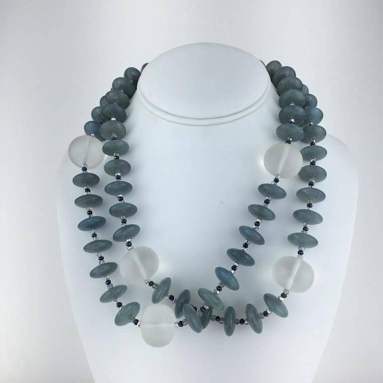 Two Strand Necklace of Aquamarine Accented with Frosted Quartz Crystal