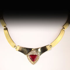 Gemjunky Statement Gold Collar with Rubelite and Diamonds
